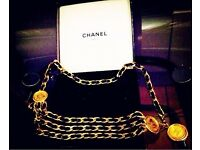Authentic CHANEL Vintage CC Logos Gold Tone Leather Chain Belt Medallion!!