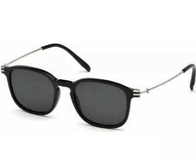 Mont Blanc Men Sunglasses MB 698/S 01A Shiny Black Palladium Grey Lens 52mm (Mont Blanc Sunglasses Mens)