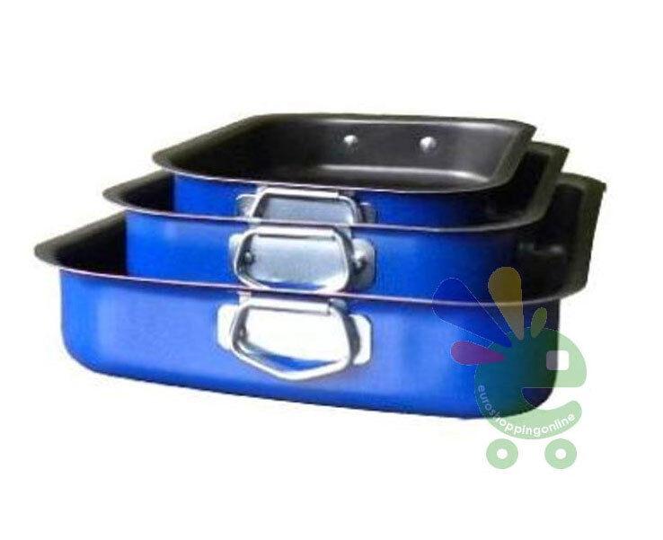 Imperdibile tris set kit teglie da forno in alluminio antiaderente lasagnera