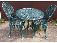 Shabby Victorian Style Garden Set Of A Table And Two Chairs In Cast Aluminium