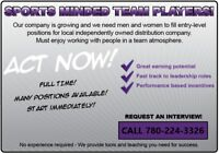 TEAM PLAYERS NEEDED NOW