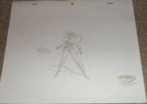 Justice League Amercia Animated Series Production Drawing Wonder Woman Signed!