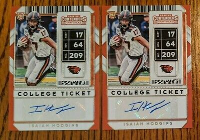 2020 Contenders Draft Picks Isaiah Hodgins College Ticket Autos (2 Card Lot)