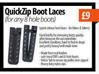 Protec Quickzip boot laces for any 8 hole boots, (quick release boot laces) for hikers & bikers etc