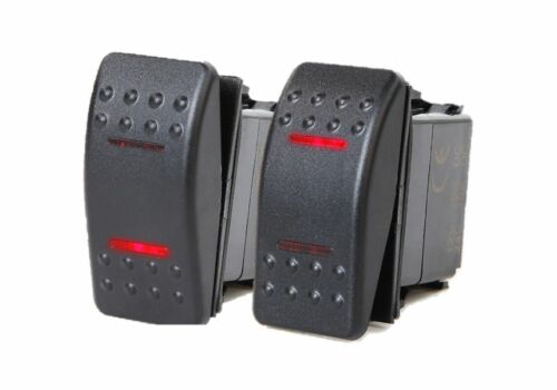 # 2 PCS MARINE BOAT TRAILER ROCKER SWITCH ON-OFF-ON SPDT 4 PIN 2 RED LED RV