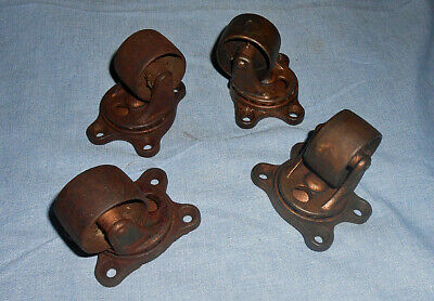 Set Of 4 Antique Gem Industrial Bearing Casters 2 12 Steam Punk