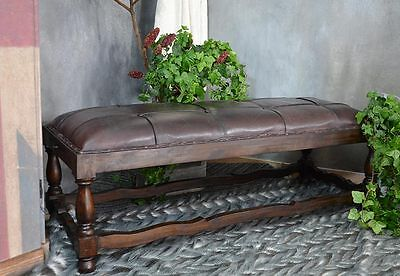 BENCH SEATER SOFA OTTOMAN SETTEE TUFTED VINTAGE RETRO NATURAL LEATHER TEAK WOOD