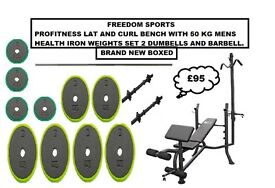 🎄PROFITNESS LAT AND CURL BENCH 50KG IRON WEIGHTS SET 2 DUMBELLS BARBELL BNB🎄
