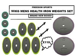 🎄MENS HEALTH 90KG IRON WEIGHTS SET 2 DUMBELLS AND BARBELL (BRAND NEW BOXED)🎄