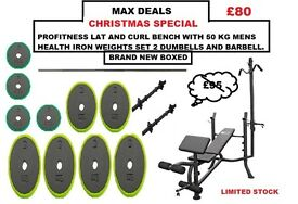 🎄REDUCED PROFITNESS LAT AND CURL BENCH 50KG IRON WEIGHTS SET 2 DUMBELLS BARBELL🎄
