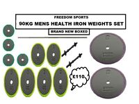 🎄MENS HEALTH 90KG IRON WEIGHTS SET 2 DUMBELLS AND BARBELL BRAND NEW BOXED🎄