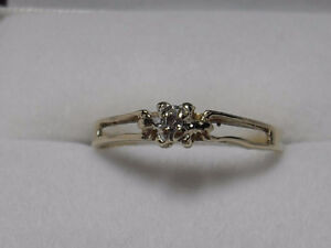 "10kt gold approx .10ct ""Solitaire Diamond"" Pre-Engagement Ring"