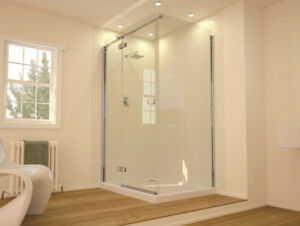 frame less glass shower and railing  (installation in 1 week)