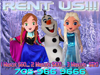 Frozen Mascots for Rent Olaf Anna Elsa