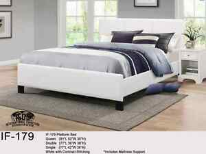 QUEEN PLATFORM BED ONLY- $239 Black/White - FREE FAST DELIVERY