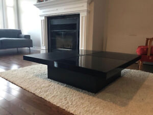 Black coffee table. Opens to hide things inside.