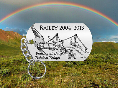 RAINBOW BRIDGE Pet Memorial Keychain, Cat or Dog, Personalized FREE!