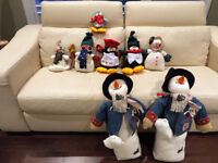 Group of 8 Assorted Size Christmas Snowmen and Penguins
