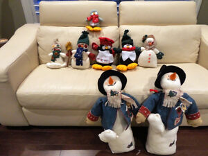 Group of 8 Assorted Size Christmas Snowmen and Penguins Kitchener / Waterloo Kitchener Area image 1