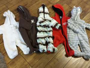 Boy NB- 3 month Fall fleece outdoor rompers