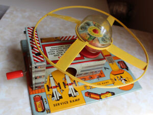 Marx Space Tin Toy Satellite Launch Station with Flying Disc