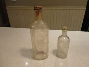 Set of 2 Dug Vintage Bottles - 1 Scott's Emulsion & 1 Fitch