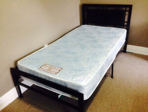 Standard Metal Frame Bed with Leather Headboard and Mattress