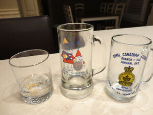2 Vintage Glass Steins and A Petro Canada Vintage Whiskey Glass