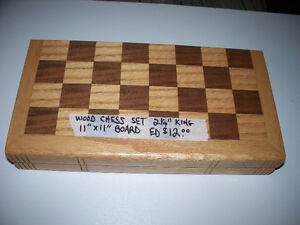 "Wood Chess Set. 2 1/4"" King. 11""x11"" Board/Box when opened."