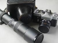 Zenit Film Camera and various accessories including Nikon SB-15 flashgun