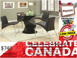 ◆Brand New 5PCs Pub Set W/4 Pub Chairs/Glass Top@NewDirection◆