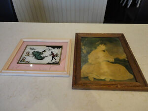 Vintage 1940's Art Pictures - I have 2. Orig. Oil Painting +Foil
