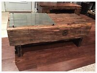 One of a kind, handcrafted with barnwood coffee tables