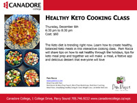 Healthy Keto Cooking Class, Parry Sound, Canadore College