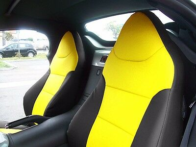 PONTIAC SOLSTICE BLACK/YELLOW LEATHER-LIKE CUSTOM MADE FIT FRONT SEAT COVER Black Leather Like Seat