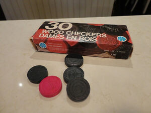 Vintage 1970's Box Of 30 Wood Checkers by Copp Clark Games Kitchener / Waterloo Kitchener Area image 1
