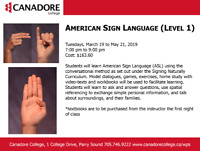 American Sign Language, Parry Sound, Canadore College