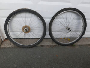 Two bicycle wheels; front and rear; both quick release