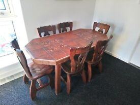 Dining Table and 6 wooden Chairs