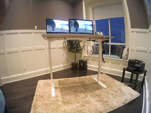 """Electric Height Adjustable Sit Stand Desk (63"""") Dual Motor White"""
