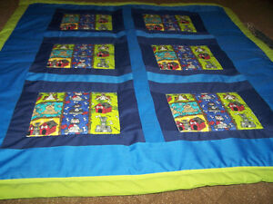 """Home made baby quilt 42"""" x 48"""" with pillow"""