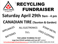 Scouts Recycling Fundraiser at Canadian Tire, Taunton in Whitby