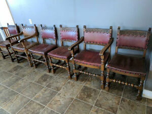 Full set of 6 hand carved Belgian antique chairs