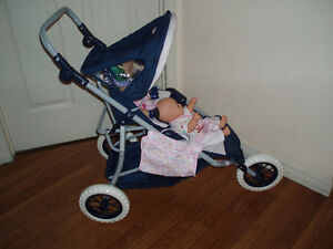 Corolle Twin Doll Stroller Wooden Doll Crib Cradle with Dolls