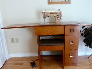 Singer Sewing Machine, Cabinet and Stool