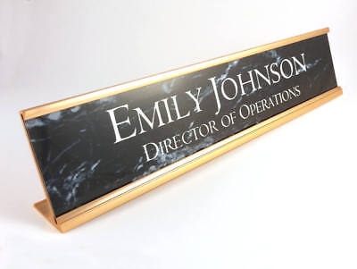 Desk name plate black marble look insert with gold aluminum holder 2