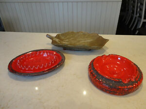 Three Vintage early 1960's Pottery Ashtrays $17.00 Each