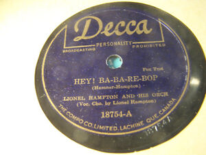 Rare Jazz 78 RPM! Lionel Hampton! Hey! Ba-Ba-Re-Bop! NM Decca!