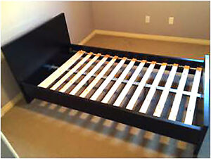 """Twin Jysk """"Laura"""" Bed frame, slats, mattress and  protector"""