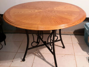 """Round table 45"""" wood and wrought iron"""